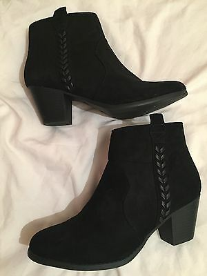 Black Suede wide fit ankle boots - size 6
