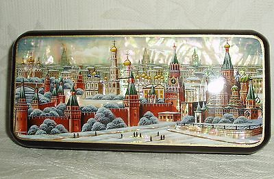 "Russian Lacquer box Mother of pearl "" Moscow Kremlin Panorama "" Hand Painted"