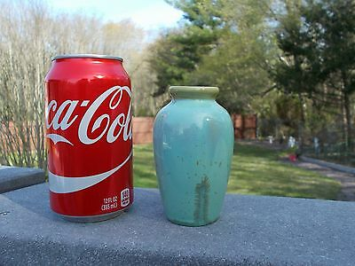"Fulper Pottery Crystaline Glaze #839 4"" Tall Oriental Ink Stamped c1916-1920's"