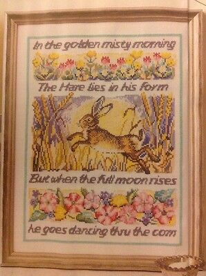 (P) Dances By Moonlight Country Hare Cross Stitch Chart