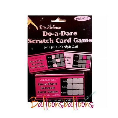 Girls Hen Night Party Do Bag Fillers Games Pink & Black Dare Game Scratch Cards