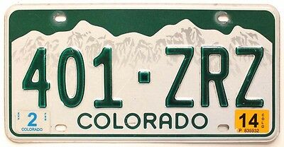 Colorado 2014 License Plate, Green, Snow-Capped Rocky Mountains, 401-ZRZ