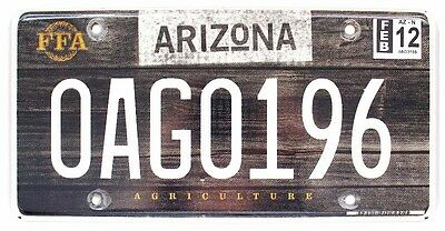 Arizona 2012 AGRICULTURE License Plate, 0AG0196, Specialty, Wood Background