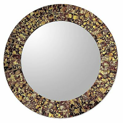 Round Wall or Table Mirror with Glass Mosaic Frame Novica FREE SHIPPING