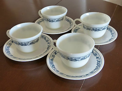 MINT! 4 x 1960'S RETRO CORELLE PYREX MILK GLASS TEA CUPS & SAUCERS!