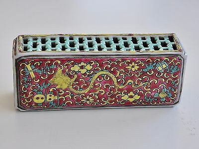 Antique Chinese China Incense Container Wrist Rest Dauguang Qing Hallmark 19