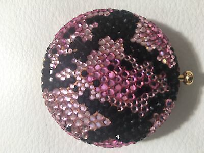 Estee Lauder PINK/ Black  COMPACT Crystals on Both Sides