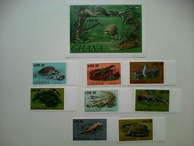 Ghana 1992 crocodiles are reptiles snakes turtles animals set+s/s MNH
