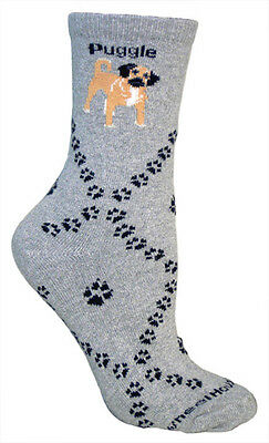 Puggle Dog Breed Gray Lightweight Stretch Cotton Adult Socks