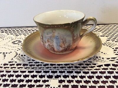 Vintage China Tea Cup & Saucer Victorian Look Gold Trimmed