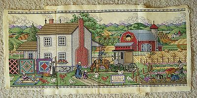 3 Piece Completed Cross Stitch Amish Life Stoltz Farm Barn Quilts Horse Buggy