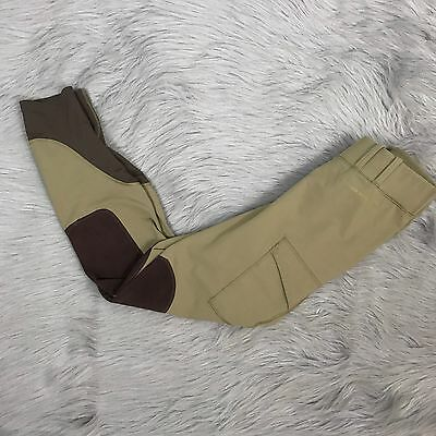 Women's Noble Outfitters Tan and Brown Riding Pants Side Pocket Medium M
