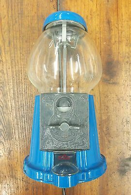 Vintage Carousel Blue Gum Ball Machine, bubbles in glass, HTF color.