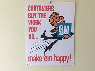 "Vintage Nos General Motors Make Your Customers Happy 22"" Paper Poster Sign Ad Gm"