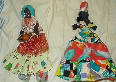 Lot Of 2 Black Americana Dolls 1 Home Made And 1 Topsy Turvy