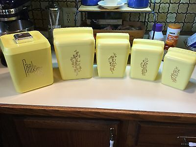 Vintage Yellow Retro 10 Piece Plastic Nesting Canister Set Cookie Sugar Flour