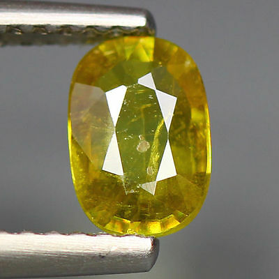 0.61 Cts_Simmering Ultra Nice Gem_100 % Natural Yellow Green  Sphene_Russia