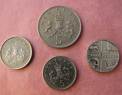 (4) 5 Pence / New Pence Coins 2014,2002,1990 & 1969 Circulated