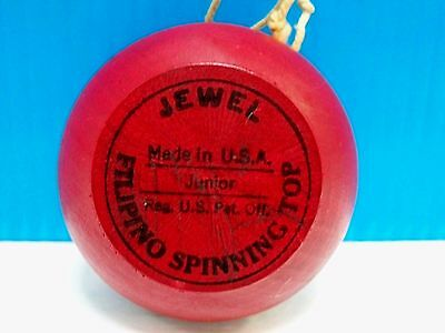 VTG. WOOD JEWEL JUNIOR YOYO - MADE IN U.S.A. by FILIPINO SPINNING TOP - 1950's