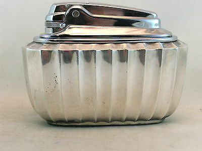 Ronson Grecian butane table lighter in rippled bright polished chrome - NOS