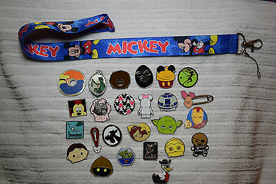 Disney trading 25 pin lot + Red Blue Mickey Mouse LANYARD Donald Star Wars Tsum