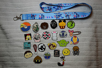 Disney trading 25 pin lot + Stitch LANYARD Hidden Mickey Donald Star Wars Tsum