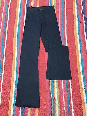 NEW VINTAGE DEADSTOCK  1970s Rare  LEE Dark Wash Raw Denim Flare JEANS sz 27