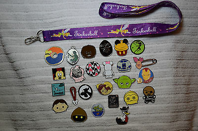 Disney trading 25 pin lot + Purple Tinkerbell LANYARD Mickey Star Wars Tsum