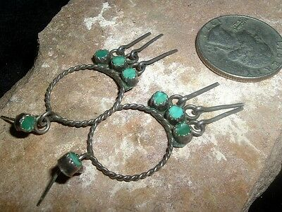 Old Sterling Silver And Hand Worked Turquoise Zuni Earrings