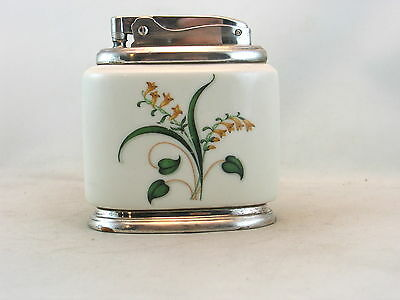 Ronson Minerva table lighter- white porcelain with yellow flowers & green leaves