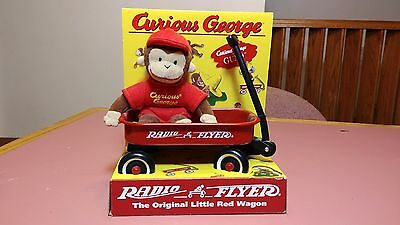Toy Gund Plush Curious George with Radio Flyer Little Red Wagon Set 1998 NEW
