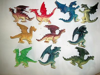 TEN PLASTIC SCARY DRAGONS  Lot 2