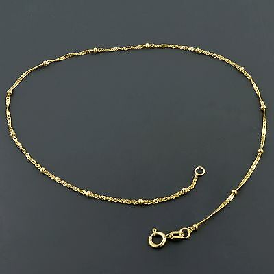 10K Yellow Gold 1.0Mm Singapore Anklet W/1.9Mm Bead Stations Set Every Inch