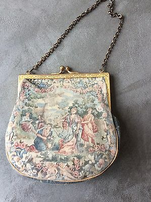Antique Vintage Evening Purse Bag Micro Point Petit Tapestry Women In Garden