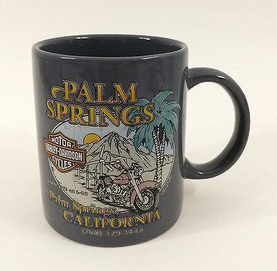 Harley Davidson Motorcycles Coffee Mug Palm Springs California Gray
