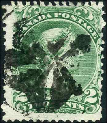 Canada #24 used F 1868 Queen Victoria 2c green Large Queen