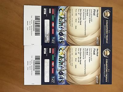 2x ICC CHAMPIONS TROPHY  FINAL TICKETS  THE OVAL 18th JUNE 2017.