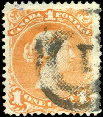 Canada #23 used F-VF 1869 Queen Victoria 1c yellow orange Large Queen '1' 2-ring