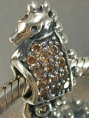 925 STERLING SILVER Champagne coloured CZ SEAHORSE European CHARM BEAD oxidised