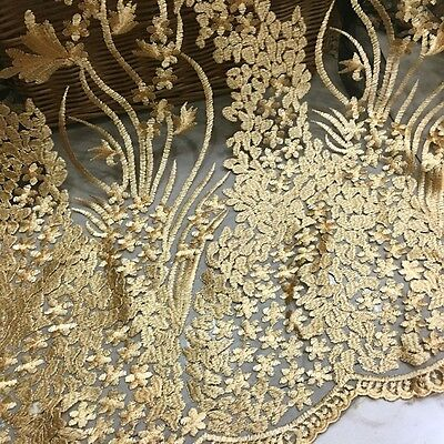 "49"" Wide Gold Embroidery Lace Fabric Vintage Black Mesh Wedding Lace By Yard"
