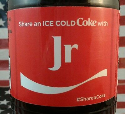 Share A Coke With Jr Limited Edition Coca Cola Bottle 2017 USA