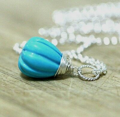 Natural Hand Carved Arizona Turquoise Wire Wrapped Pendant Solid Sterling Silver