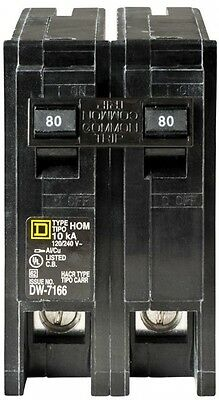 Square D Circuit Breaker Schneider Electric Homeline 80 Amp 2-Pole High Quality