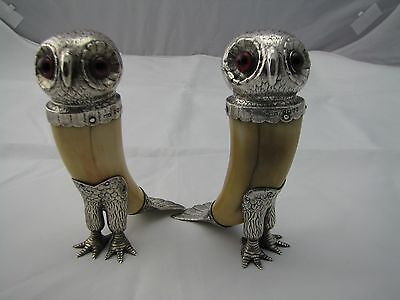 Antique Silver And Boar's Tooth Novelty Owl Pepper Shakers W.f. Williams 1877