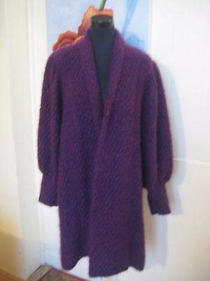 VINTAGE Mohair & Wool  Coat Long Cardigan. Fits Size 14.