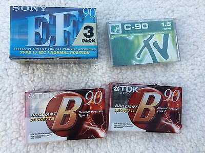 6x Bulk Blank Brand New Sony & MTV Cassette Tapes EF-90, B-90