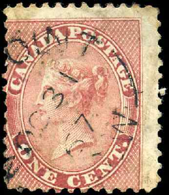 Canada #14 used VG 1859 Cents Issue 1c rose Queen Victoria  Split Circle cancel