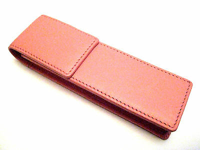 Pink Leather Double Magnetic Pen Case/Pouch. REDUCED DUE TO MINOR COLOUR FAULTS