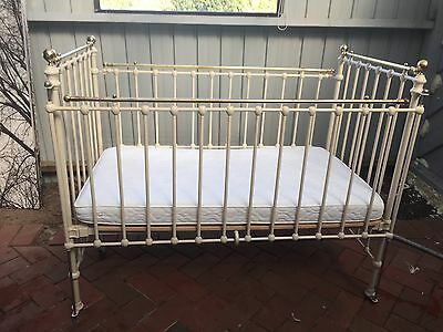 Antique iron and brass cot