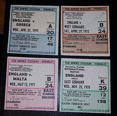 4x 1970 - 72 ENGLAND FULL INTERNATIONALS original  tickets @ Wembley